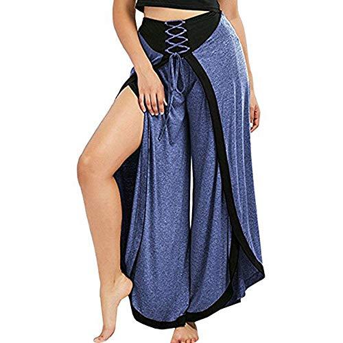cinnamou Damenhosen,Frauen reizvolle Weite Beinhosen schnüren lose hohe Taille Palazzo ausgestellte Hose,Damen Yoga Unregelmäßige Split Belt Strap Wide Leg Pants Wide Leg Cord Pant