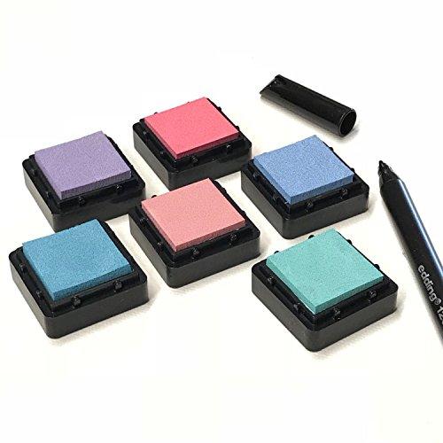 KATINGA Stempelkissen (6er Set) Pastell mit Stift für Fingerabdrücke, Zum Basteln und Zum kreativen Gestalten