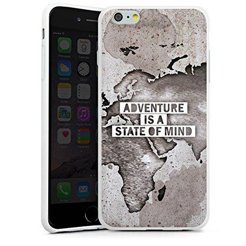 Apple iPhone 6 Hülle Case Handyhülle Weltkarte Spruch Abenteuer Silikon Case weiß