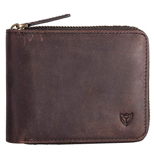 Zip Kaffee (RFID Herren Leder Zipper Brieftasche Zip um Brieftasche Bifold Multi Kartenhalter Geldbörse (Kaffee))