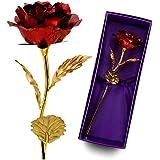 LAVINAYA Rosa de láminas de oro, hecho a mano, 25 cm, ideal como regalo de San Valentín, dura para siempre, incluye tarjeta y caja de regalo