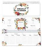 Agenda hebdomadaire fleurs 2019 sans date fixe/ plus que 365 jours/ calendrier 2019/ agenda de table/ liste to do/ agenda hebdomadaire/ rendez-vous/ scolaire/ agenda de famille 2019 60 semaines
