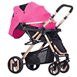 Anna Système de voyage pour poussette bébé Le chariot de bébé multifonctionnel peut s'asseoir se reposant légèrement le chariot d'été de pli de voiture de parapluie portatif Poussette réglable pour poussette ( Couleur : Rose rouge )