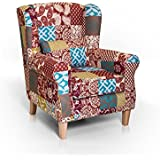 WILLY Ohrensessel Sessel Polstersessel Wohnzimmersessel Relaxsessel /Patchwork Bunt