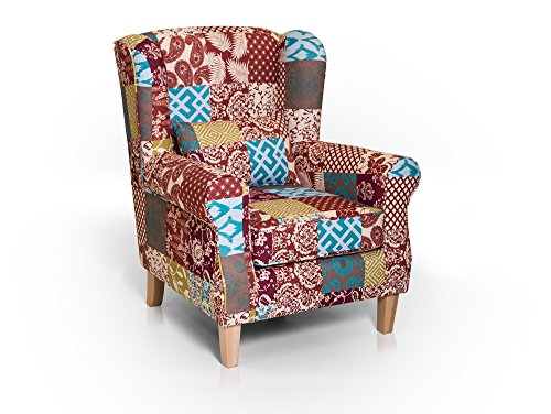 WILLY Ohrensessel Wing-Chair Sessel Polstersessel Wohnzimmersessel Relaxsessel /Patchwork Bunt