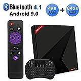 Android TV Box 9.0, Android Box con Wireless Mini Tastiera RK3328 Quad-Core 64 bit Cortex-A53 4 GB RAM 64 GB ROM, supporto 2.4G/5G Dual Wifi/BT 4.1/4K Risoluzione/3D TV Box