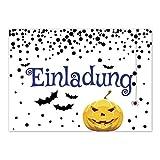 16 Halloween Einladungen - Kürbis-Gesicht und Fledermaus - Tolle Einladungskarten für die Halloween-Party für Kinder und Erwachsene