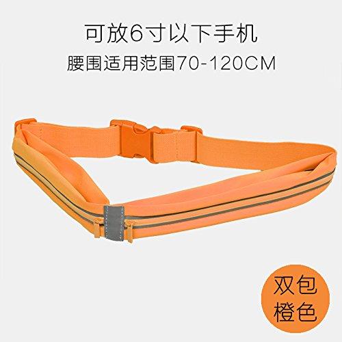 KANG@ Sport Taille Pack Multifunktions Running Männer und Frauen Outdoor Handy Tasche Anti-Diebstahl intime Stealth wasserdicht Beutel Double Bag Orange
