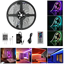 Guaiboshi 10M Tiras de Luz LED Strip Impermeable RGB 5050 SMD 600 LEDs DIY Stripes Flexible con 24V Adaptador de Alimentación + 44 Mando a Distancia Clave + Receptor Kit para casa, jardín, decoración [Clase energética A +]