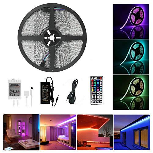 Guaiboshi 10M Tiras LED Strip Impermeable RGB 5050 SMD 600 LEDs Flexible con 24V Adaptador de Alimentación + 44 Mando a Distancia Clave + Receptor Kit Para Casa, Jardín, Decoración