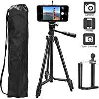 Heoysn Trépied Smartphone, Trépied Appareil Photo 128cm en Aluminium avec Sac de Transport, Poids 400g, Compatible Iphone, Telephon, Camera, Video