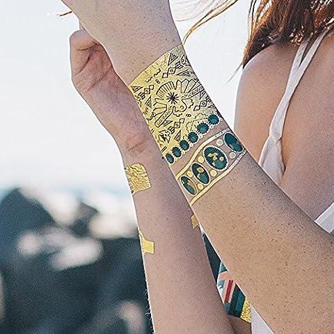 Tattify Gold Turquoise Mayan Bracelet Temporary Tattoo - Thunderbird Sheet 3 (Set of 1 sheet)