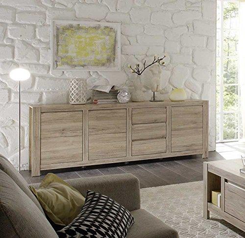 Sideboard in San Remo Eiche-Nachbildung, 3 Holztüren, 3 Schubkästen, Maße: B/H/T ca. 215/79/42 cm
