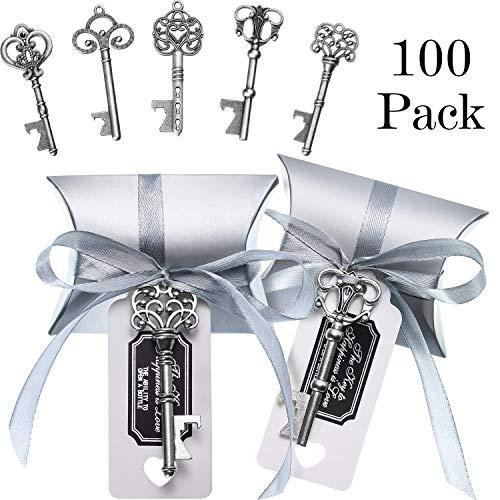 Jovitec 100 set apribottiglie chiave vintage matrimonio favorire il veleno del ricordo set contenitore di caramelle cuscino escort grazie tag nastro francese corda di canapa (argento antico)