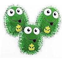 Preisvergleich für 3 Kühlpads Frosch Wärmepad mehrfach Kompresse Kühlkissen Kinder wärmen kühlen