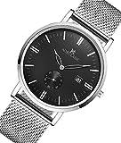 AOKULASIC Herren Fashion Datum Analog Quarz Wasserdicht Armbanduhr mit besonderem zweite Sub Zifferblatt (Weiß & Schwarz)