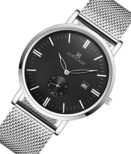 AOKULASIC Mens Fashion Date Analog Quartz Waterproof Wrist Watch with Particular Second Sub Dial. (White & Black)