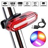 LED Fahrradücklicht Fahrradbeleuchtung, Icesnail USB Wiederaufladbare LED-Lampe,Ultra Hell IPX6 Wasserdicht Fahrradrückleuchte , 6 Lichtmodi (rot, rosa, blau) Rücklichter für Fahrrad