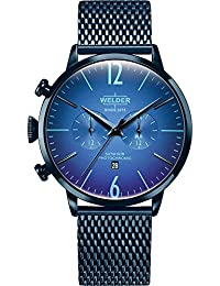 Welder Moody WWRC414 - Steel watch with blue IP finish. Strap type mesh. Three needles, chrono and calendar.