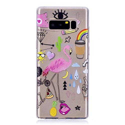 Galaxy Note 8 Silikon Hülle,TPU Silikon Schutzhülle Case Hülle für Samsung Galaxy Note 8 [Kratzfeste, Scratch-Resistant], BONROY Bunte Kunst Gemaltes Muster Ultra Dünn Schlank Bumper-Style Handyhülle Premium Kratzfest TPU Durchsichtige Schutzhülle Telefon-Kasten Handycover Bumper Soft Rückseite Cover Tasche für Samsung Galaxy Note 8 - Multi-Element-Flamingo