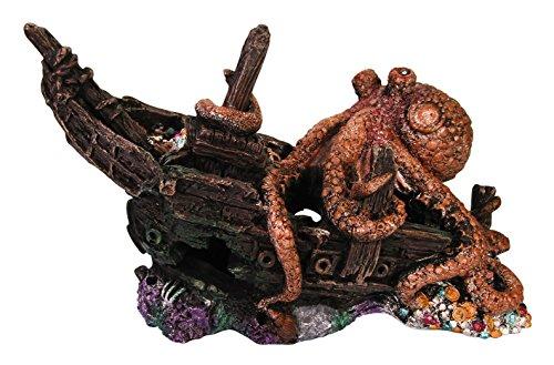 Orbit OB-13014 Schiffs-Wrack mit Krake, Boot, Schiff, Bootswrack, Piratenschiff, Versteck für Fische, Aquariumdekoration, L29 x B13 x H18 cm