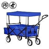 Froadp Faltbarer Bollerwagen mit UV-Schutz-Sonnendach Handwagen bis 70 Kg 360° Drehbar Vorderräder für Alle Untergründe Geeignet(Blau)