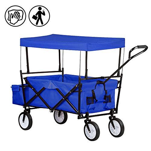 FROADP Faltbarer Bollerwagen mit UV-Schutz-Sonnendach - Handwagen bis 70 Kg 360°Drehbar für Alle Untergründe Geeignet, Blau