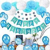 Geburtstagsdeko Junge 1 Jahr, MMTX Junge Geburtstag Deko Ballon mit Happy Birthday Girlande Blau,Wimpelgirlande, Luftballons Blau und Pompoms für Junge Baby 1 2 3 5 6 7 9 10 Jahr Geburtstag Dekoration
