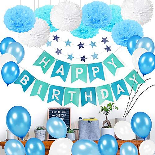 MMTX Geburtstagsdeko Junge 1 Jahr, Junge Geburtstag Deko Ballon mit Happy Birthday Girlande Blau,Wimpelgirlande, Luftballons Blau und Pompoms für Baby 1 2 3 5 10 Jahr Kindergeburtstag Deko Dekoration
