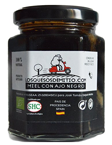 Miel con Ajo Negro Ecológico de Losquesosdemitio (natural, sin conservantes ni colorantes, deliciosa, artesana, un bote, origen España, 240g)