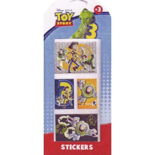 4 stickers autocollants Toystory 3 rectangulaires relief Woody Stickers Toy Story Neuf + 1 Carte invitation au dos