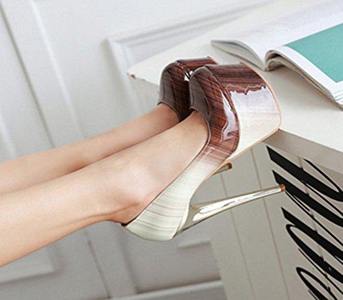 Aisun Damen Sexy Mehrfarbig Lackleder Low Cut Plateau Stiletto Ohne Verschluss Pumps Absatzschuhe Braun