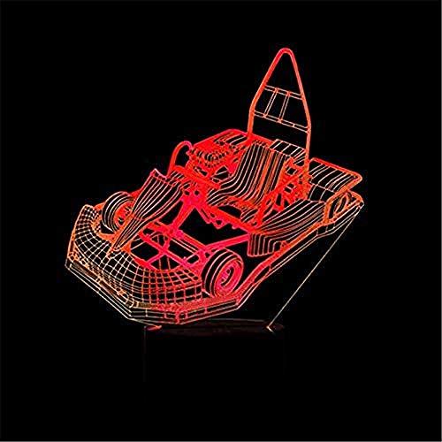 Relovsk Nachtlicht Led 3D Go-Kart Modellierung Nachtlichter Kinder Touch Button Beleuchtung Kreative Wohnkultur 7 Farben Kart Auto Tischlampe