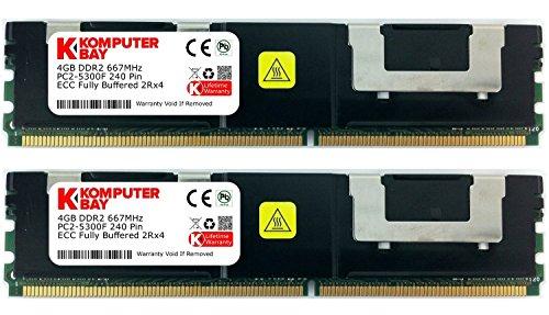 Komputerbay 8GB (2X4GB) DDR2 PC2-5300F 667MHz CL5 ECC Fully Buffered FB-DIMM (240 PIN) 8GB w / Wärmeverteilern