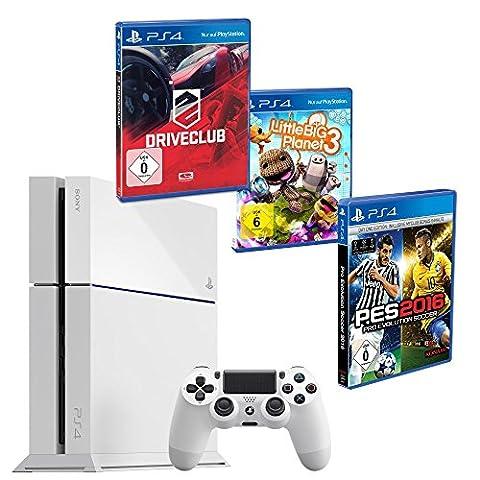 Sony PlayStation 4 500 GB weiss + Pro Evolution Soccer 2016 + Little Big Planet 3 + Driveclub (Sony Playstation 4 Preis)