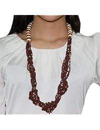 Para mujer 91,44 cm Multi - de cuentas con varias capas de madera collar con colgante en forma Link/joyas