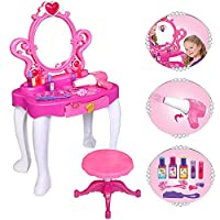 Girls Pink Vanity Jewellery Dressing Table with Mirror and Stool Play Set Toy with Music and Lights by BSL