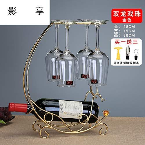 YDGHD European Creative Wine Rack Weinregal Weinflasche Flase-Rack Wohnzimmer-Dekoration Eisen Rotes Glas Rack Auf Den Kopf Gestellt SsangYong Drama Beads-Gold (ohne Tassen)