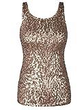 PrettyGuide Damen Shimmer Glam Pailletten verziert Sparkle Trägershirt-Weste Tops XL Champagner
