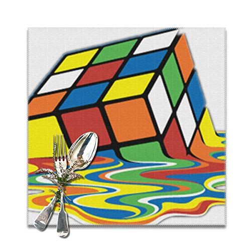 Nicegift Placemats Set of 6 Melting Puzzle Cube Sheldon Big Bang Theory 100% Polyester Placemats Washable Heat Insulation Kitchen Table Mats 12X12 In