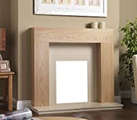"""Gas or Electric Oak Timber Surround Cream Marble Stone Wall Fire Fireplace Suite 48"""""""
