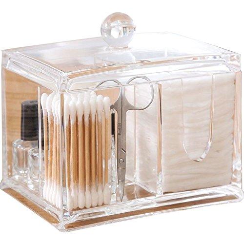 EFGUFHC Baumwoll-pads box organizer, Crystal Große kapazität Transparenter kunststoff Aufbewahrungsbox, 4 abschnitte-A 13.5x10.5x10.5cm(5x4x4inch) (Schublade Vier Oxford)