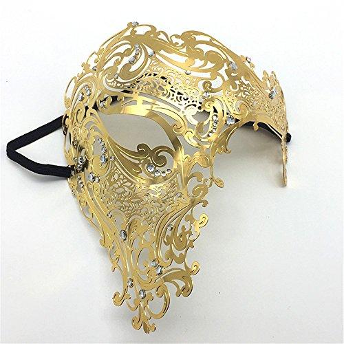 (ParttYMask Maskerade,Gold Metall Diamanten Make-up Abschlussball Silvesterparty Maske halb Gesicht für Männer und Frauen Venedig Metall Schmiedeeisen Maske Gold Masquerade)