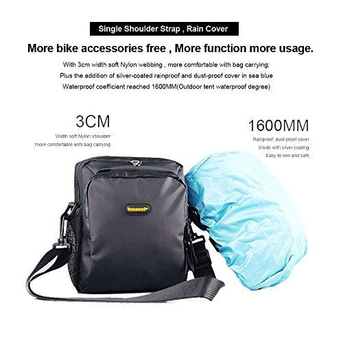 Lenkertasche, NTMY wasserdichte Fahrradtasche mit abnehmbarem Schultergurt und Regenschutz, 4L Kohlefaser