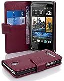 Cadorabo - Book Style Hülle für HTC Desire 500 - Case Cover Schutzhülle Etui Tasche mit Kartenfach in BORDEAUX-LILA