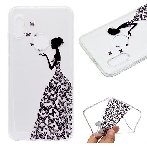 JIENI Hülle für Xiaomi Redmi Note 5 Pro/Mi 6X Transparent TPU Mädchen Schmetterlings-Kleidung Weich Silikon Handyhülle Schutzhülle Stoßkasten Case Bumper Slimcase Etui Cover -