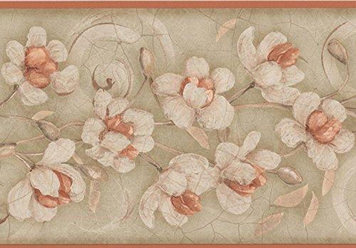 Blanco flores marrón gris floral cenefa papel pintado