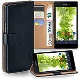 moex Sony Xperia Style | Hülle Schwarz mit Karten-Fach 360° Book Klapp-Hülle Handytasche Kunst-Leder Handyhülle für Sony Xperia Style T3 Case Flip Cover Schutzhülle Tasche