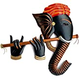 The Bombay Craft House Basuri Ganesha Metal Wall Hanging for Home Decor and Gifts (17 x 17 x 1.5 inch, Multicolour)