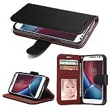 Motorola Moto G4/ Moto G4 Plus Hülle,SOWOKO Ledertasche Schutz Case Book Style Brieftasche mit Kartenfächer und Ständer für Motorola G4/G4 Plus - Schwarz